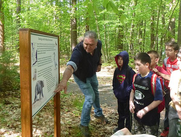 Rich Holschuh leading 3rd graders from Northfield Elementary School on a tour of Alderbrook Meadows Wildlife Sanctuary.