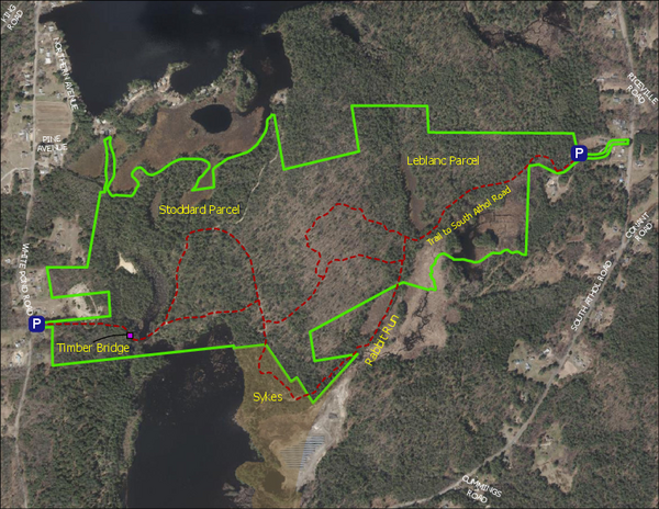 Map of South Athol Conservation Area with future trail improvements